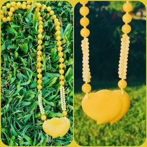 Vintage Yellow Carved Jade Beaded Necklace